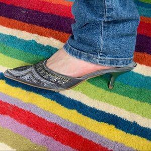 Restricted Shoes - Vintage metallic beaded kitten heel mules